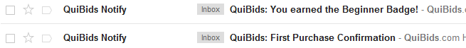 QuiBids Email Notification - The Beginner Badge