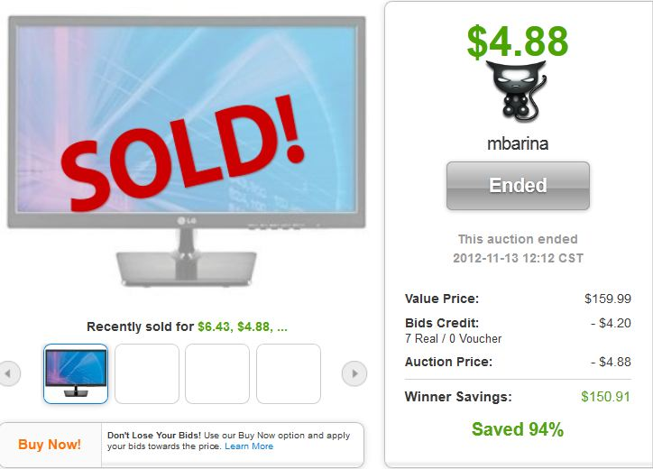 15 lg 22 inch led lcd monitor quibids deal