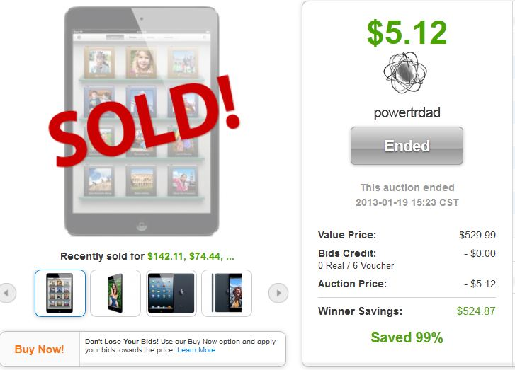 apple ipad mini quibids deals