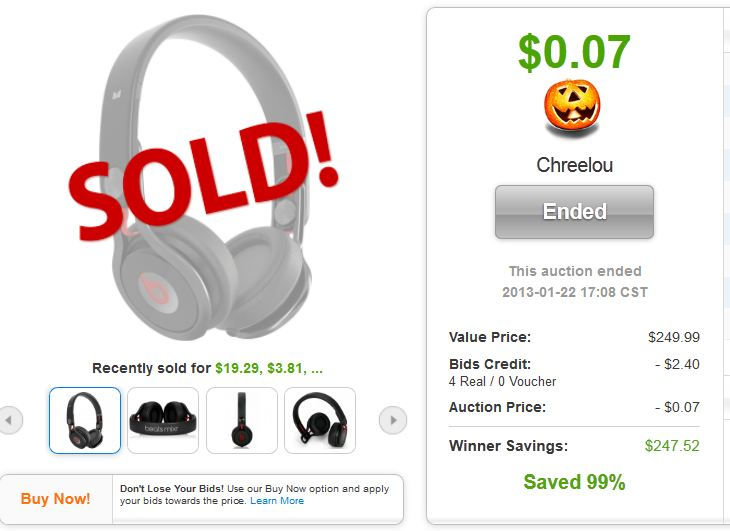 beats mixr high performance headphones quibids deal legit