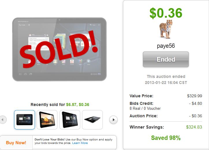 motorola 32gb android tablet quibids deal