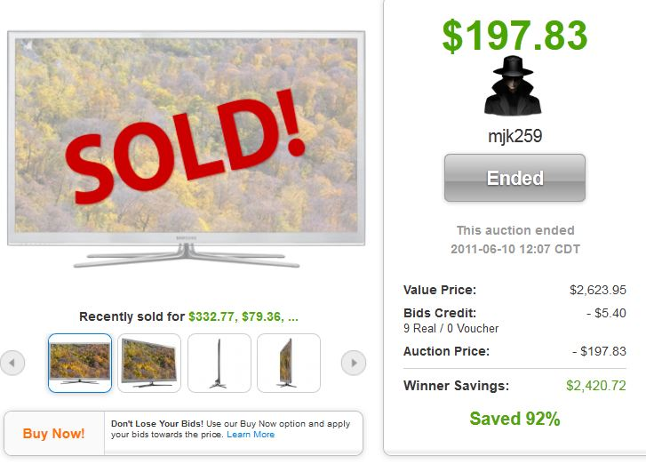3 Samsung 3D Plasma TV on QuiBids