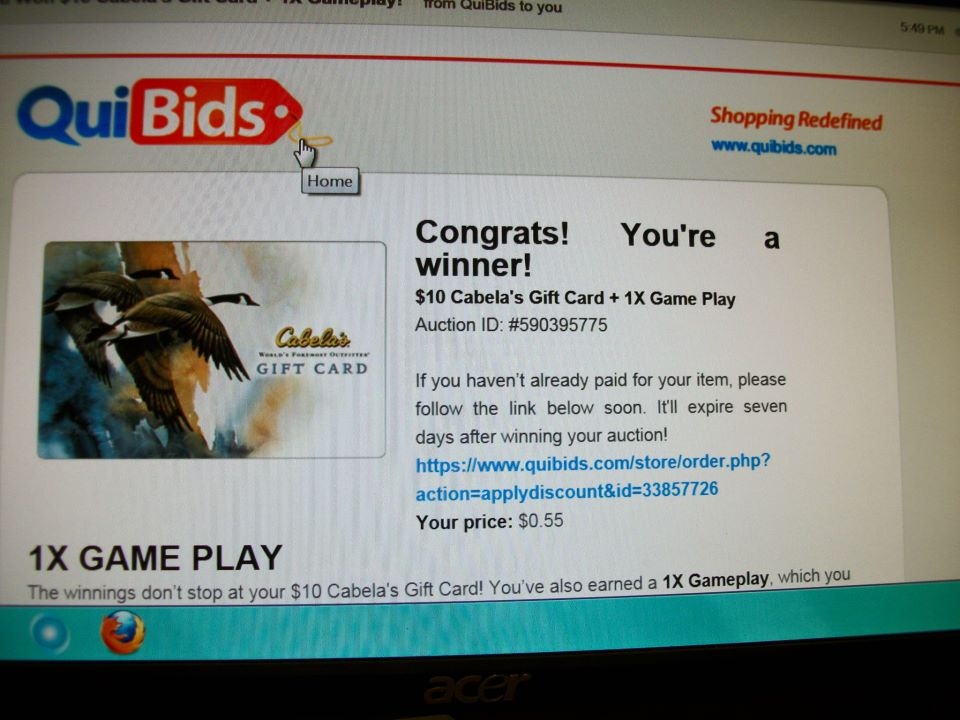 5 quibids auction win cabelas gift card