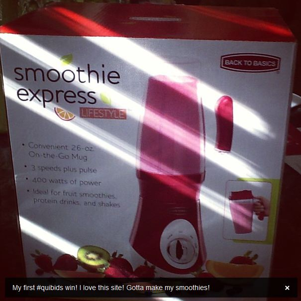 7 quibids smoothie maker auction win