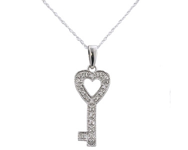 QuiBids Sterling Silver Diamond Key Heart Pendant