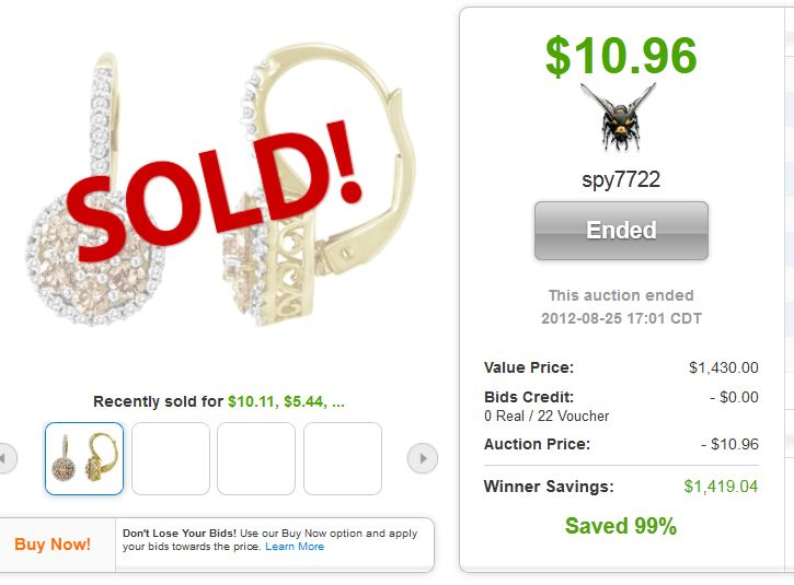 QuiBids auction win 10k Champagne Diamond Earrings