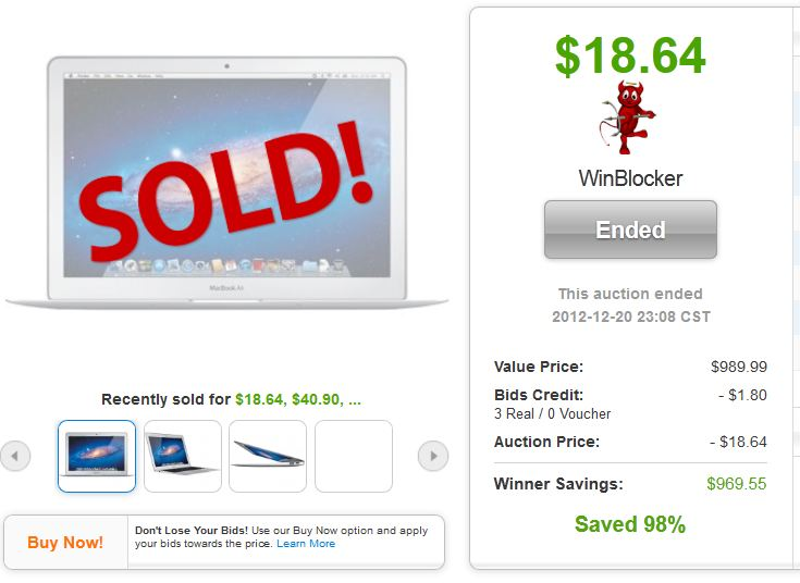 QuiBids auction win Apple MacBook Air