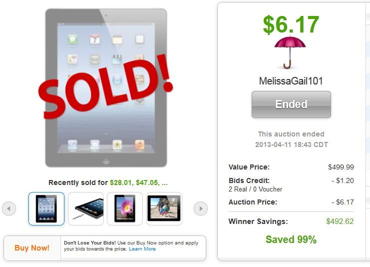 QuiBids auction win Apple iPad