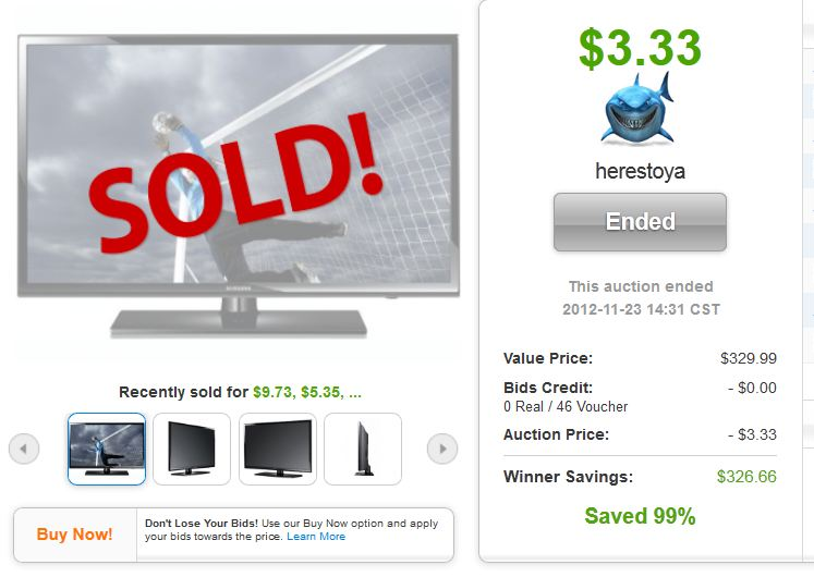 QuiBids auctions 32 Inch 720P LED HDTV