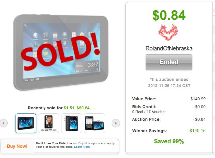 QuiBids auctions Aluratek Cinepad