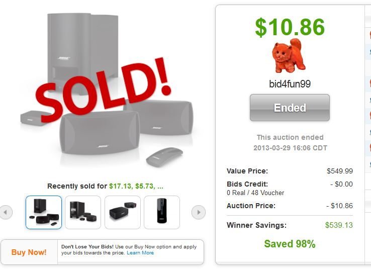 QuiBids auctions Bose CineMate II Speakers