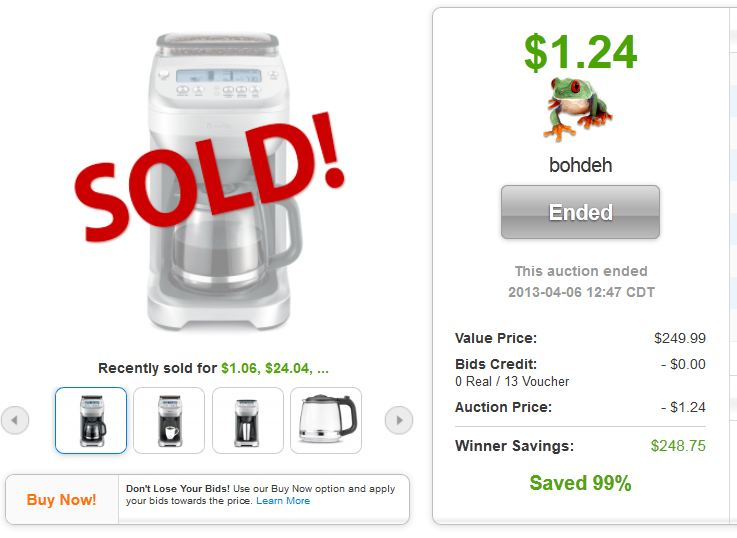 QuiBids auctions Breville Coffee Maker