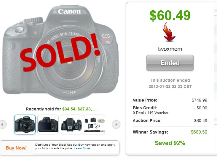 QuiBids auctions Canon EOS Rebel T4i