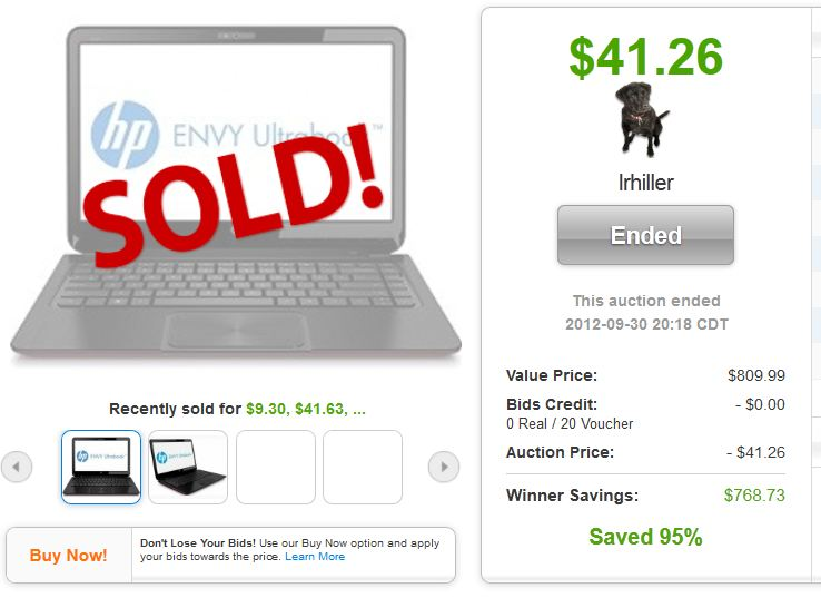 QuiBids auctions HP Envy Ultrabook