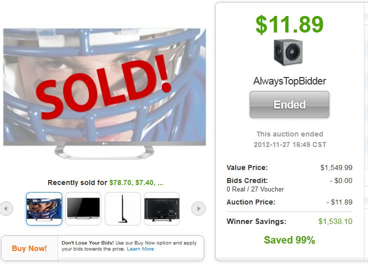 QuiBids auctions LG 3D LED HDTV