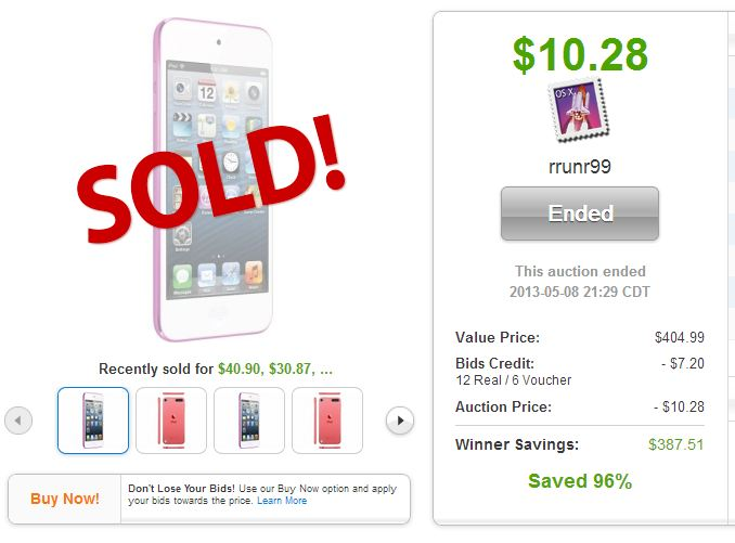 QuiBids auction Apple iPod Touch