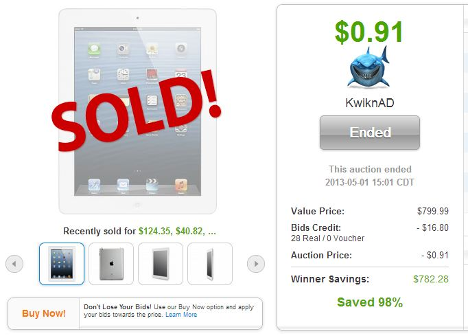 QuiBids auction site Apple iPad 128GB