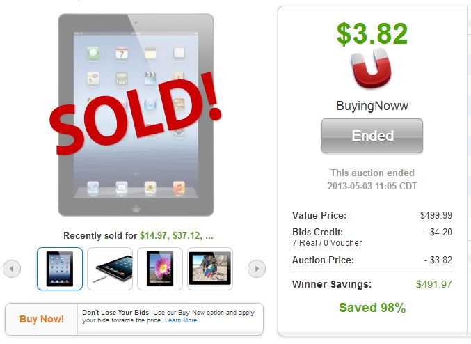 QuiBids auction site Apple iPad 16GB