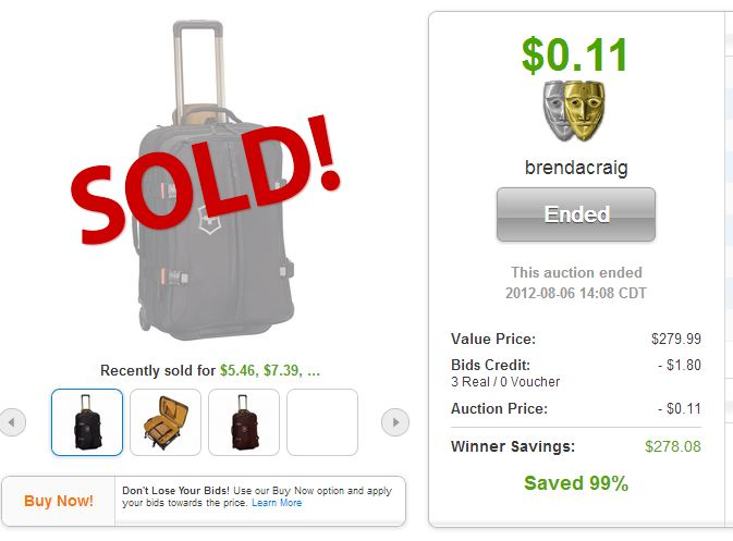 QuiBids auction win Swiss Army Expandable Wheeled Luggage