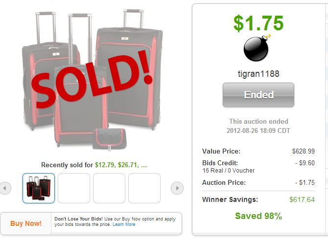 QuiBids auction win Swiss Legend Luggage Set
