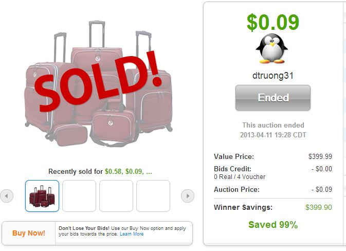 QuiBids auction win Travelers Choice Spinner Luggage Set
