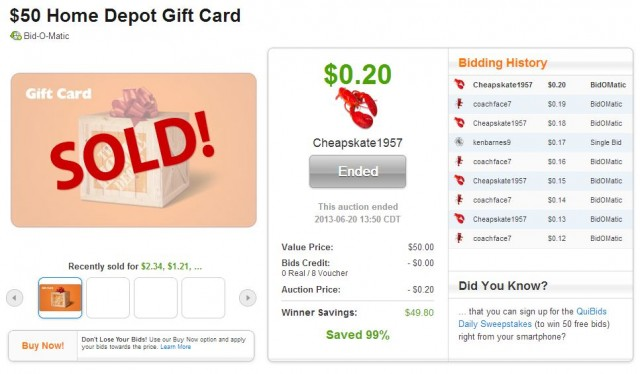 $50 Home Depot Gift Card won on QuiBids for $0.20