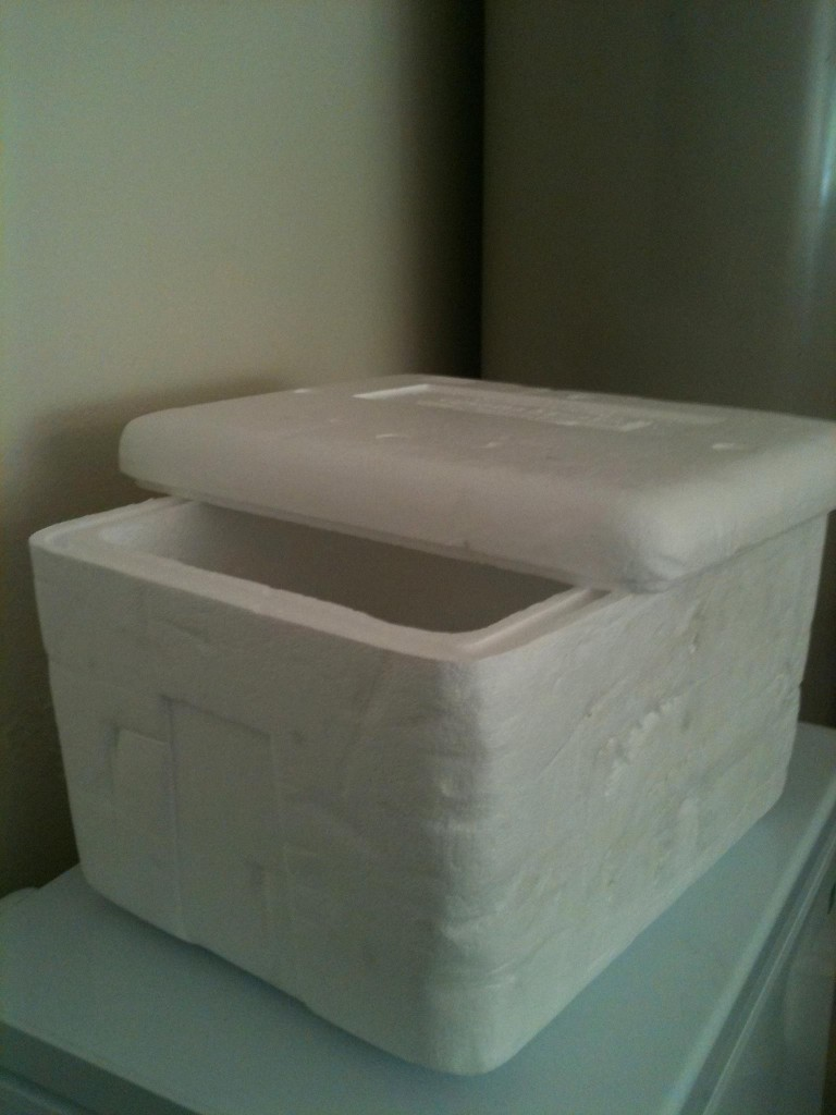 Don't worry about your Omaha Steaks getting damaged during shipment. This photo submitted by one of our customers shows the Styrofoam box that is also filled with dry ice.