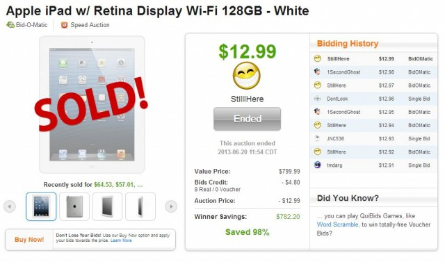 Apple ipad SOLD on QuiBids for $12.99!