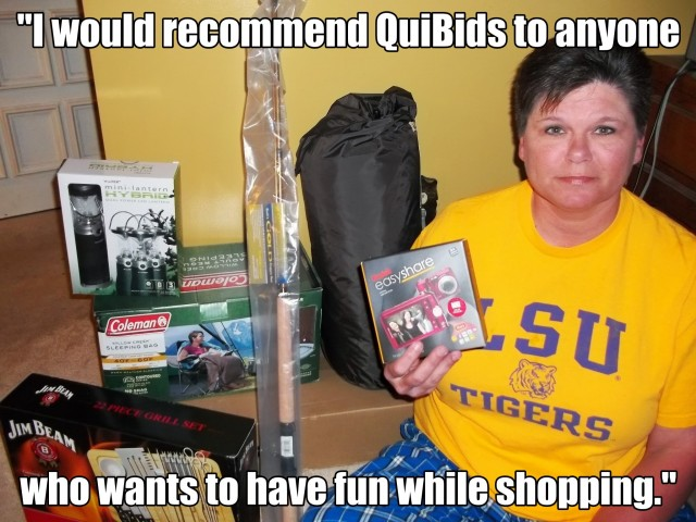 Real QuiBids Customer showing off auction winnings.