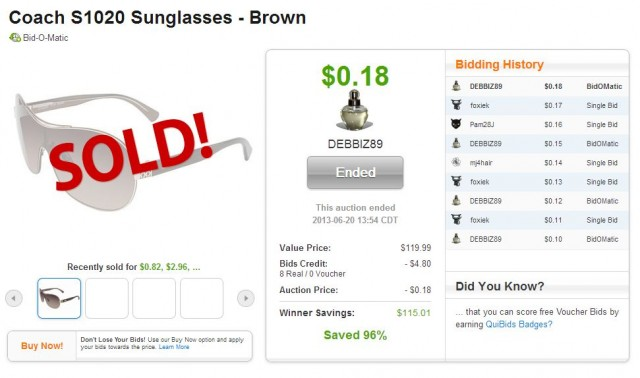 Coach Sunglasses won on QuiBids for $0.18