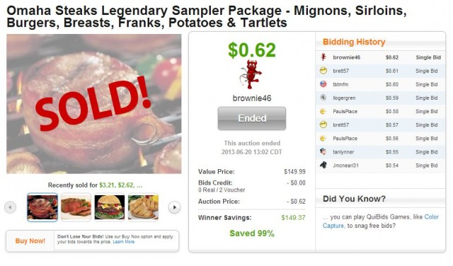 Omaha Steak Sampler Package SOLD on QuiBids for $0.62!