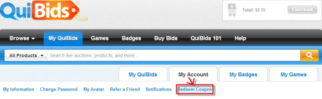 How to claim a Promo Code on QuiBids