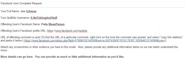 example facebook complaint email