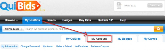 where to claim a Promo Code or Coupon Code on QuiBids