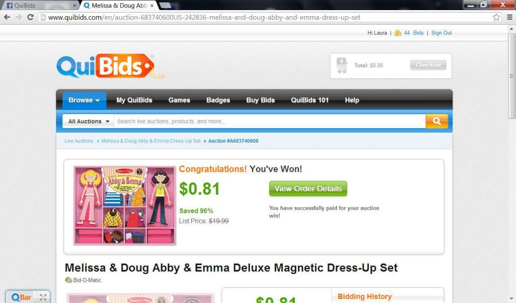 Laura C. sharing a win on QuiBids for a melissa & doug abby & emma deluxe magnetic dress up set