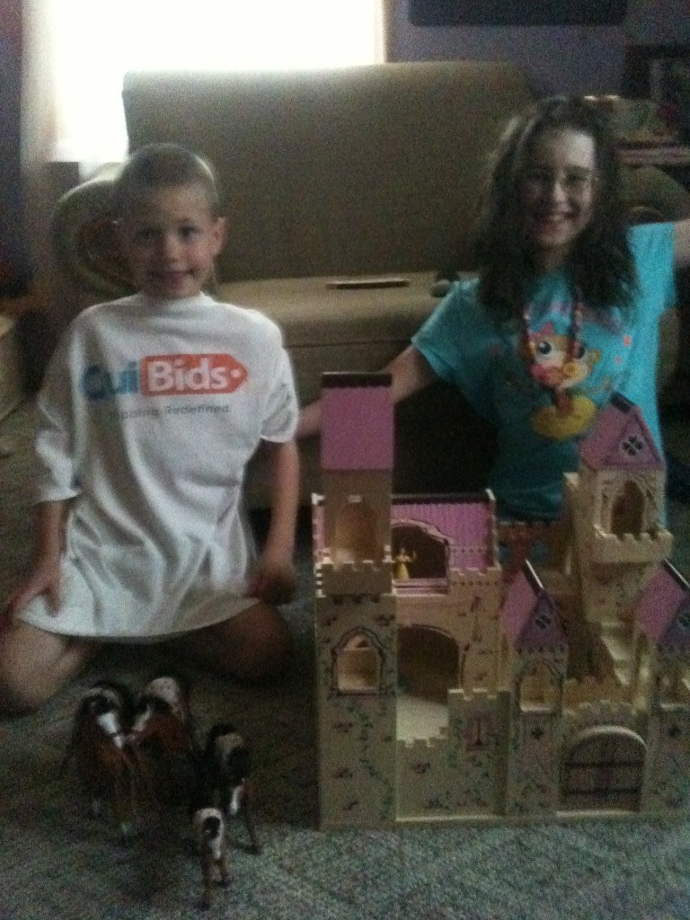 QuiBidder Paula B. sharing her melissa & doug wins and showing how her children love the toy