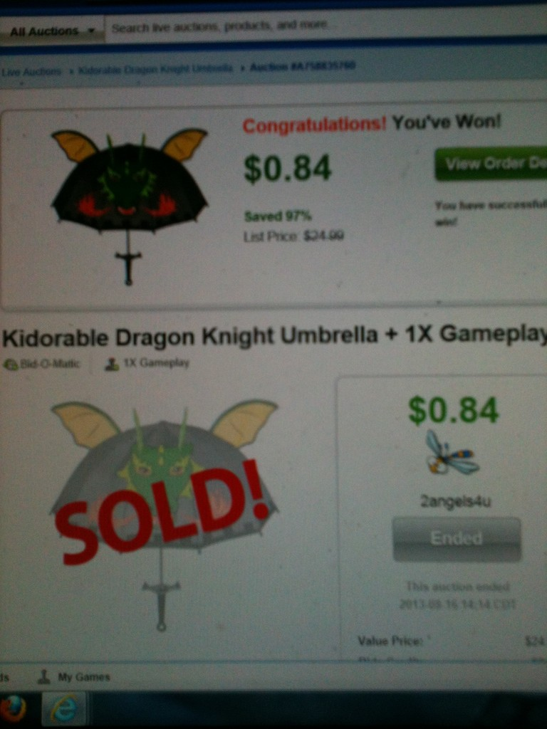 QuiBidder Paula B shares her experiences winning this kidorable dragon knight umbrella for $0.84 on QuiBids