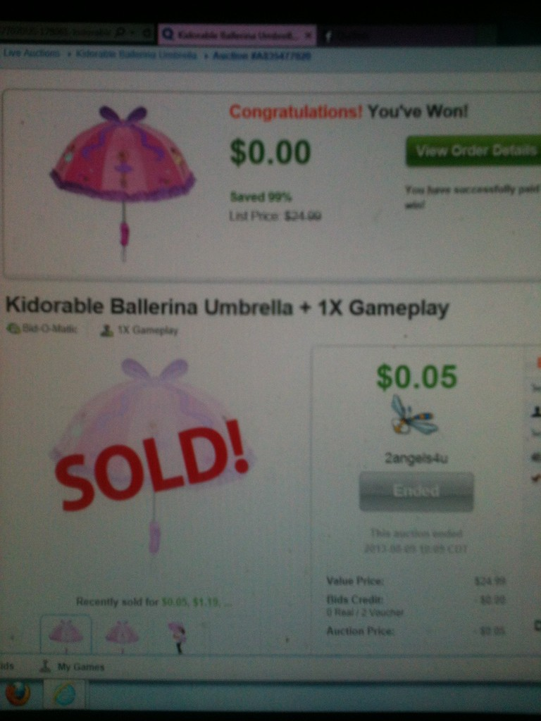 QuiBidder Paula B. sharing a review of the kidorable ballerina umbrella she won on QuiBids