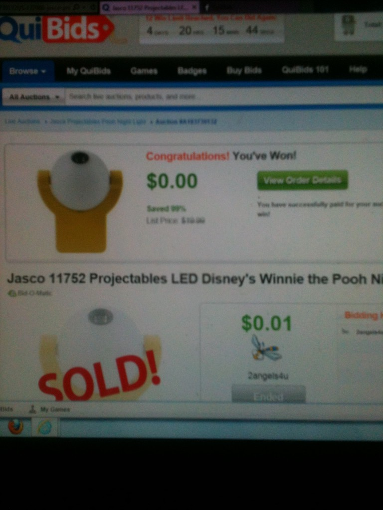 QuiBidder Paula loves the jasco led desiney's winnie the pooh night light she won on QuiBids for $0.01