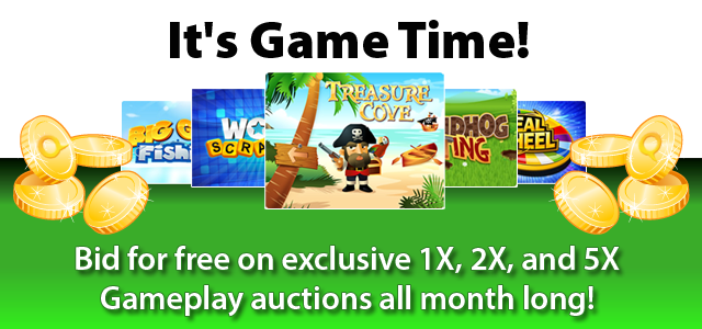 Free Gameplay Auctions on QuiBids in August 2013