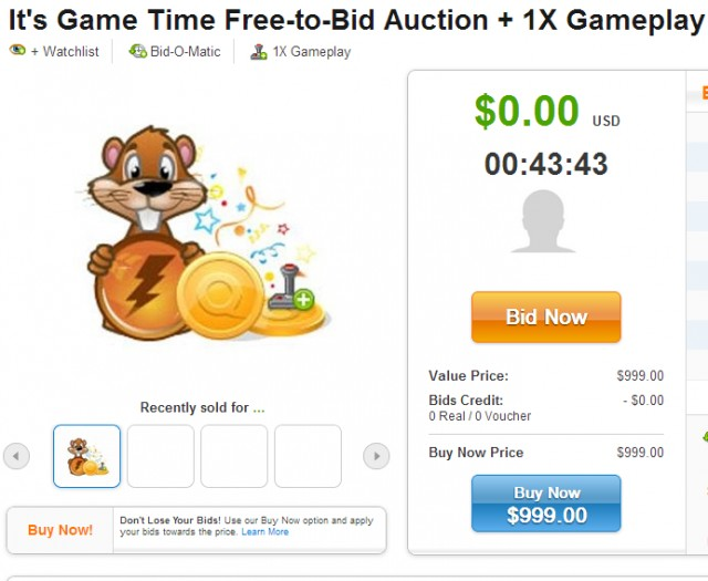 It's Game Time Free Gameplay Auctions on QuiBids