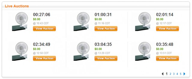Upcoming Auctions Product Page View