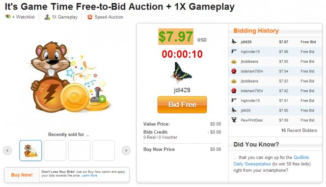 QuiBids Free Gameplay Auction