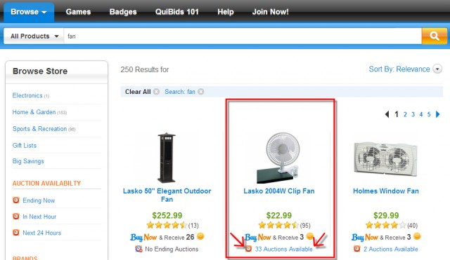 Using QuiBids Store to see more auctions