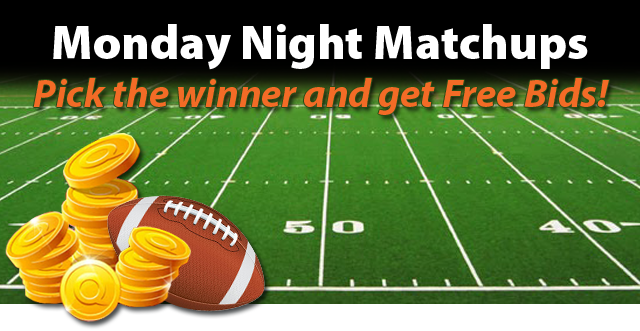 Monday night matchup pick the winner and get free bids for Get bids