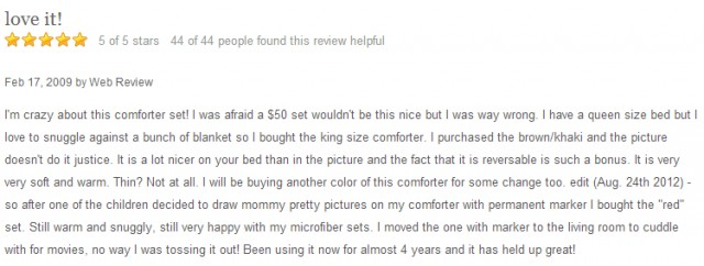 QuiBids Customer Review of Comforter