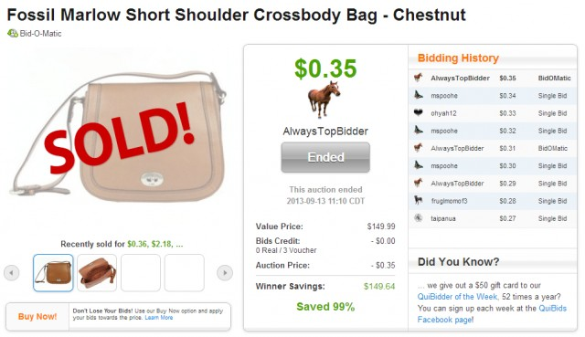 Cheap fossil crossbody bag on QuiBids