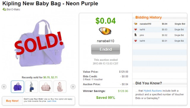 cheap kipling new baby bag on QuiBids