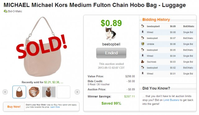 Cheap Michael Kors bag on QuiBids