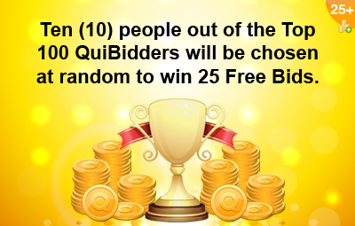 25 Free Bids Top QuiBidders Reward